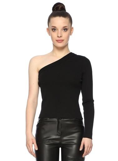NetWork NetWork 1074523 Slim Fit Tek Omuzlu Kadın Triko Siyah
